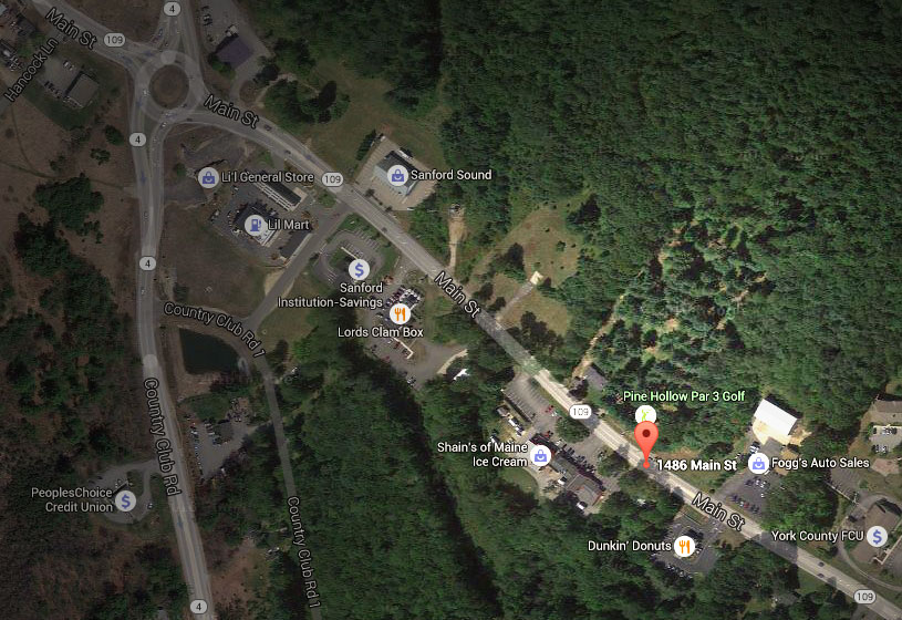 Google map - overhead view of Pine Hollow Little Par 3 at 1486 Main Street in Sanford, ME.
