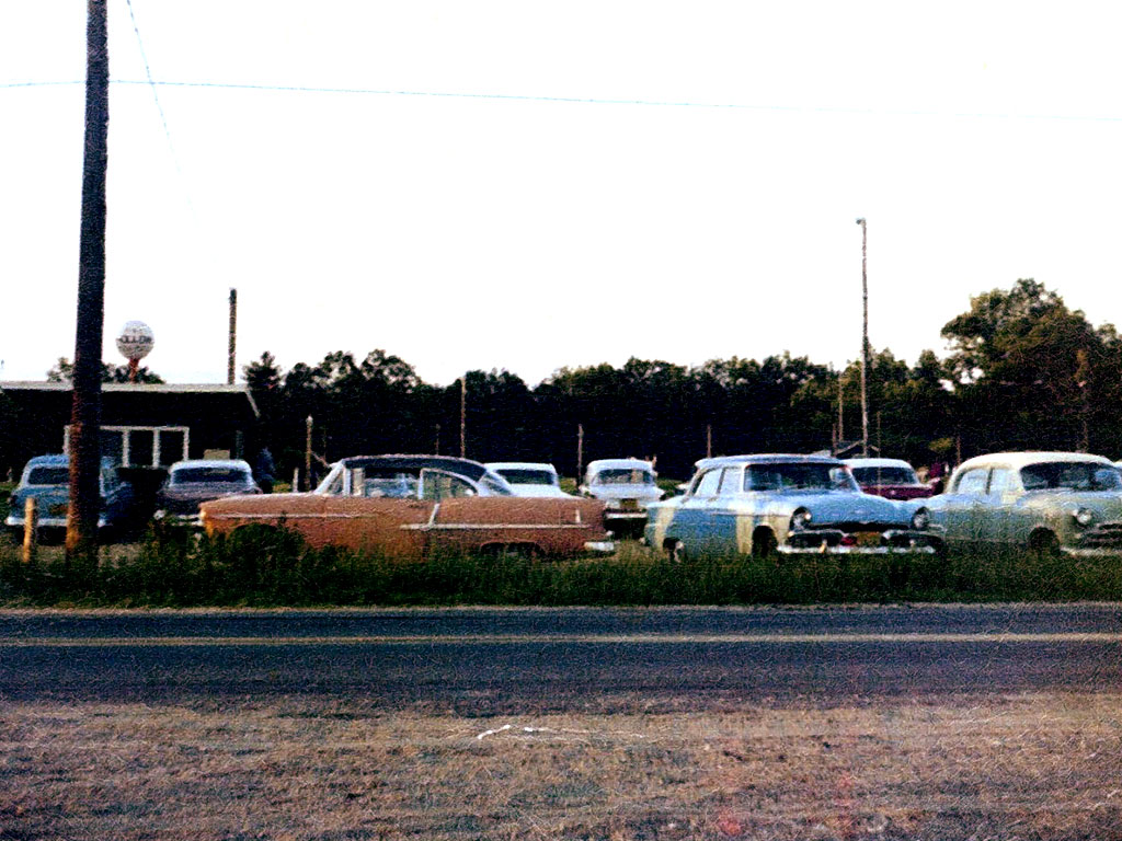 classic cars in parking lot