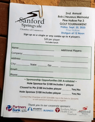 Sanford Chamber of Commerce Golf Tournament Application