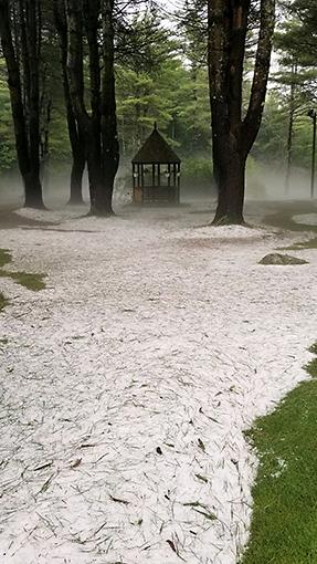 Hail stones and mist enshrouded gazebo