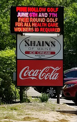 Shain's of Maine billboard promo for health care worker weekend